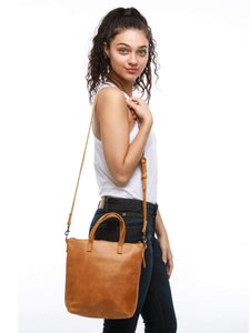 fashionable cross body zip closure cognac bag purse