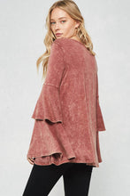 washed double layer bell sleeve top
