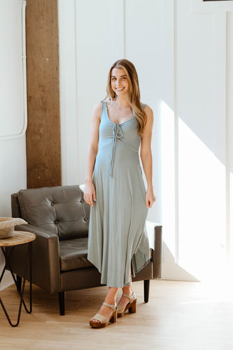 rae ruched midi dress