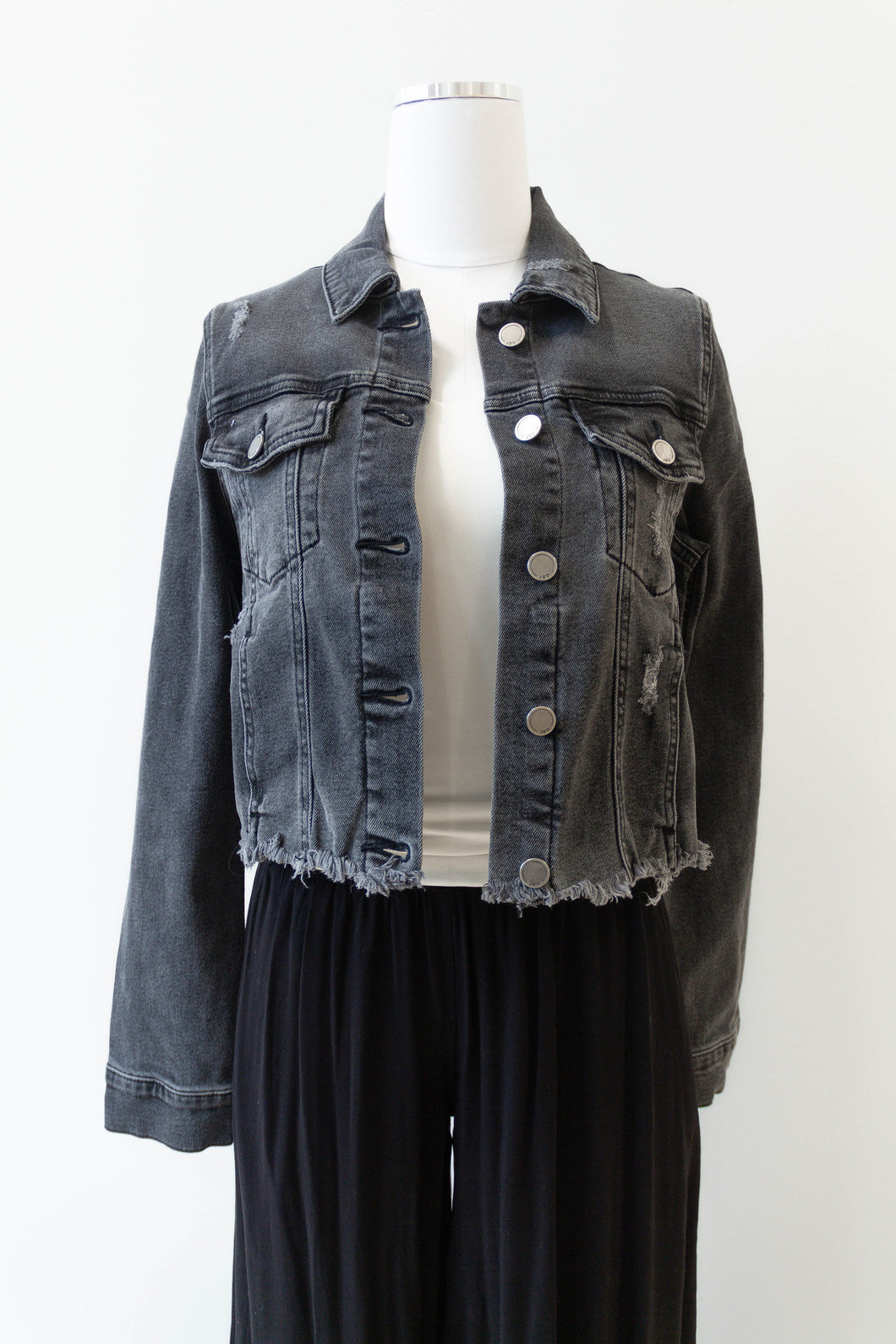 frayed crop denim jacket