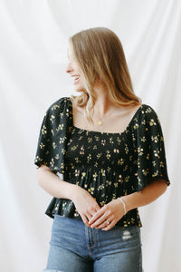 audrey smocked floral top