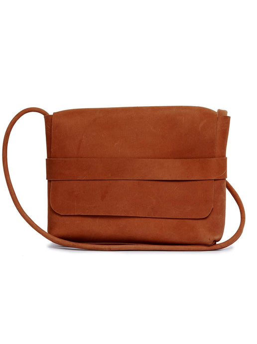 mare crossbody bag chestnut brown leather long strap