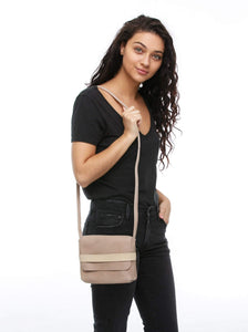 mare small crossbody bag fog leather long strap