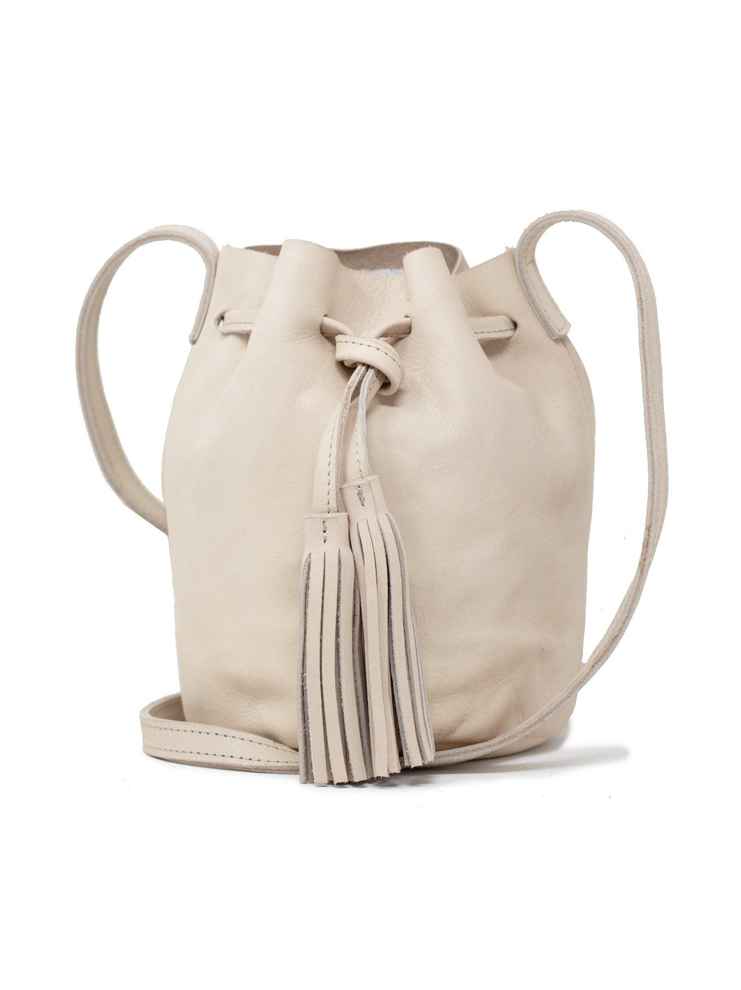 maria drawstring tassel leather bucket bag fog