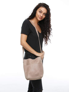 selam cross body bucket back fog leather long strap