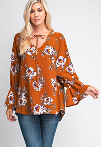 long sleeve floral top
