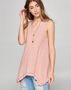 blush pink asymmetrical double layer tank top