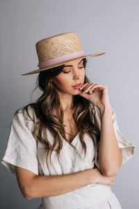 brae straw boater hat with leather band