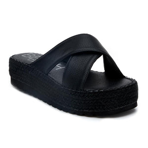 cove criss cross platform sandal | black