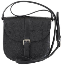 evelyn embossed leather saddle bag