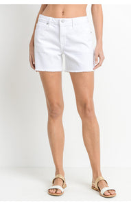 high rise frayed hem shorts