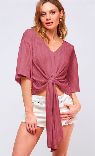 front tie top with flowy sleeves mauve