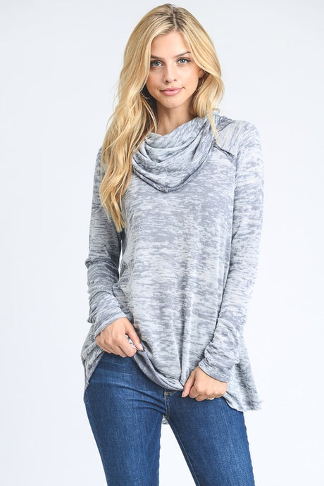 hopely french terry burn out long sleeve cowl neck pullover