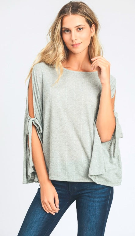 3/4 sleeve gold shoulder tie top