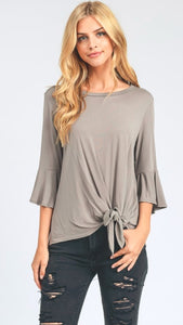 bell sleeve tie top taupe