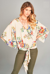 kimono sleeve floral top with front tie
