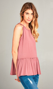 high neck tank with pleated bottom