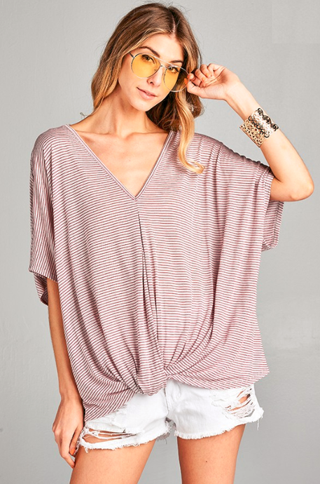 short sleeve front knot striped top