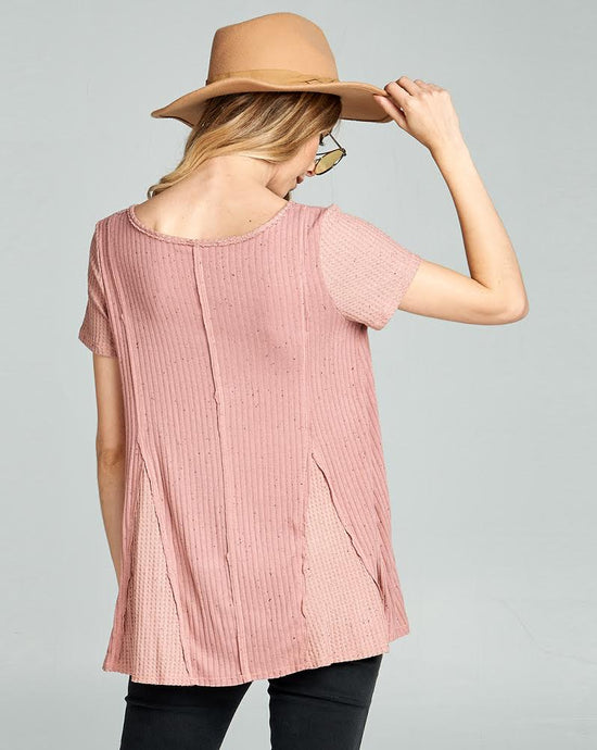 vneck short sleeve top with waffle detail