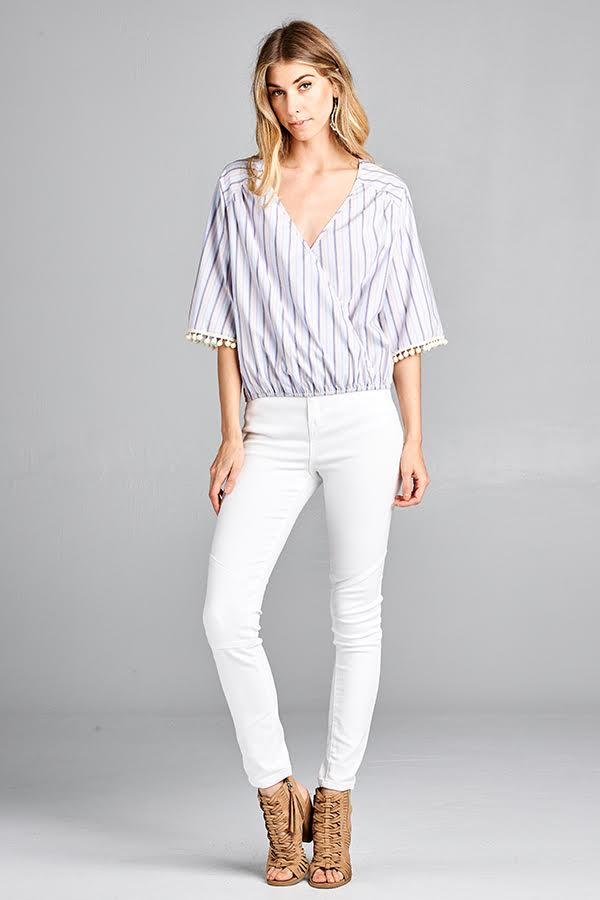 striped wrap top with tassel sleeve