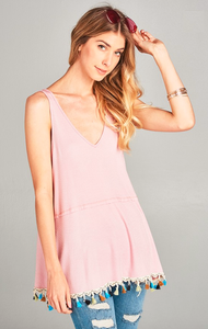 vneck tank with tassel trim