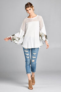 waffle knit flowy top with floral sleeve