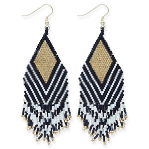 seed bead earrings | black + ivory stripe