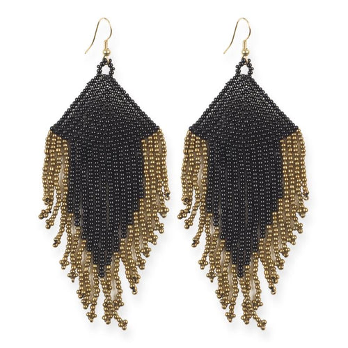 seed bead earrings | solid fringe