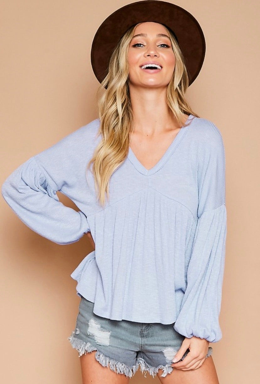 adrienne ribbed puff long sleeve