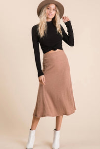 gwen ribbed midi skirt