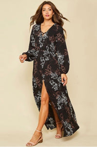 eva floral print long sleeve dress
