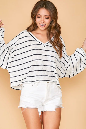 stripes + speckles long sleeve