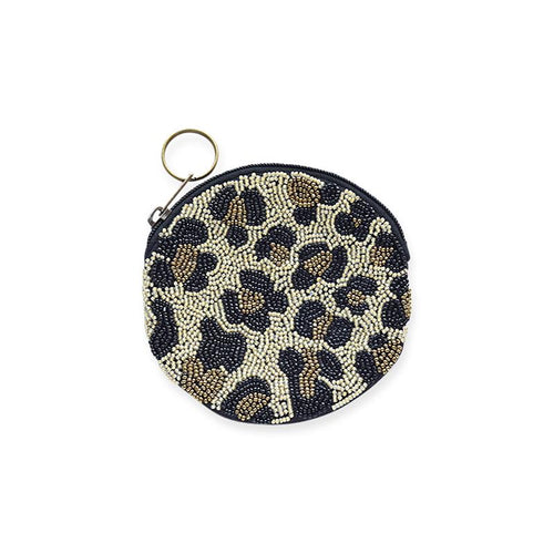 cheetah beaded small coin purse