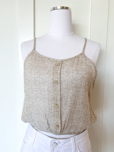 ditsy button crop tank