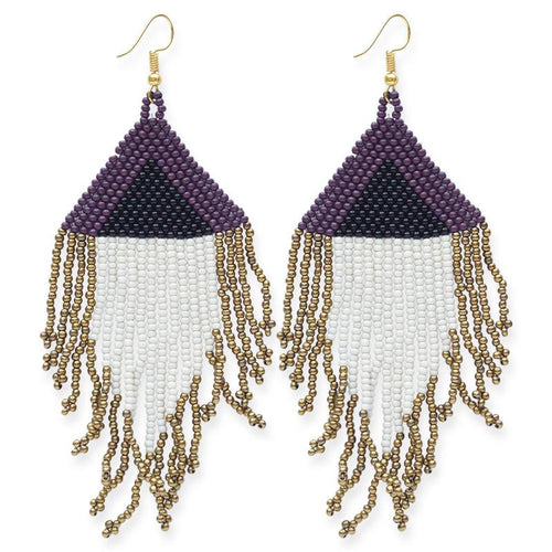 seed bead earrings | triangle fringe