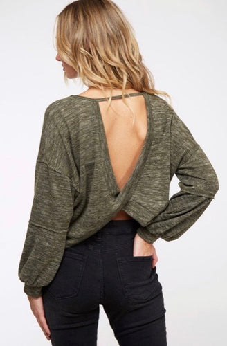 casey twist open back sweater