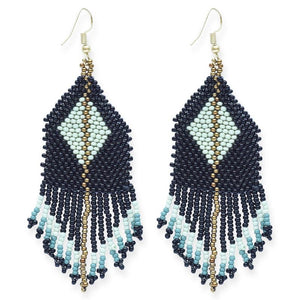 seed bead earrings | diamond stripe