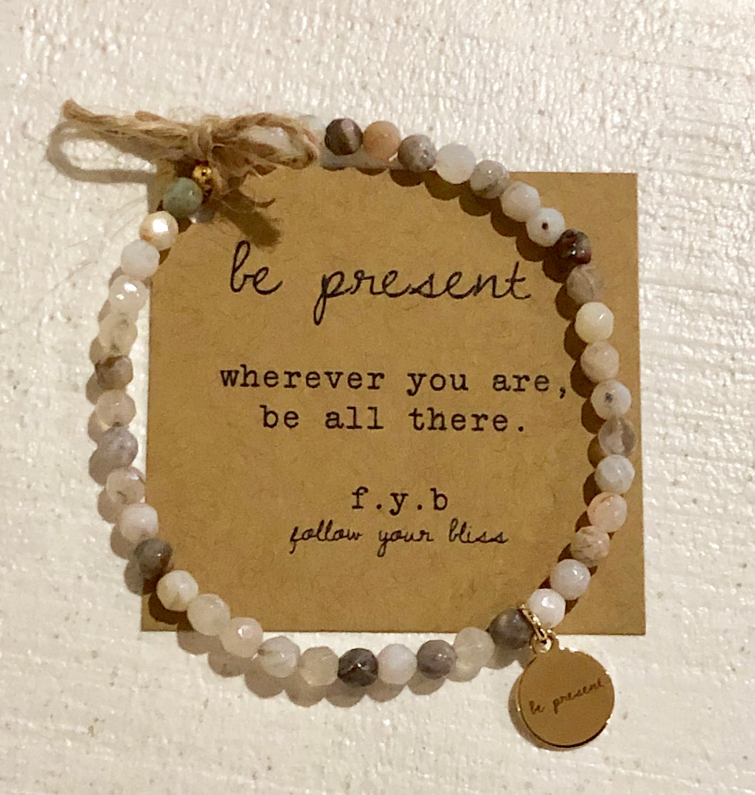 fyb follow your bliss stackable bliss bracelet beaded charm be present