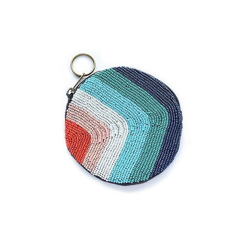 rainbow beaded small coin purse