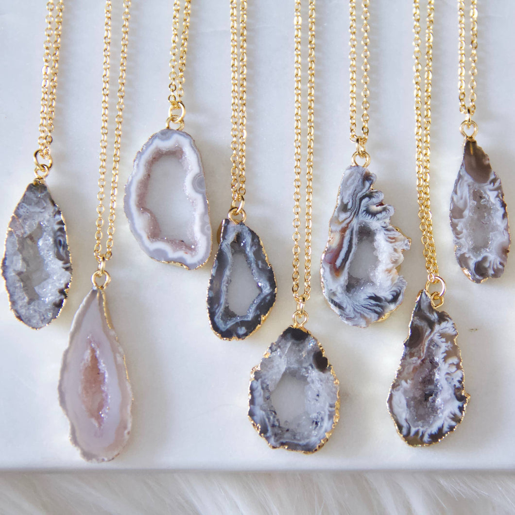 small geode druzy necklace