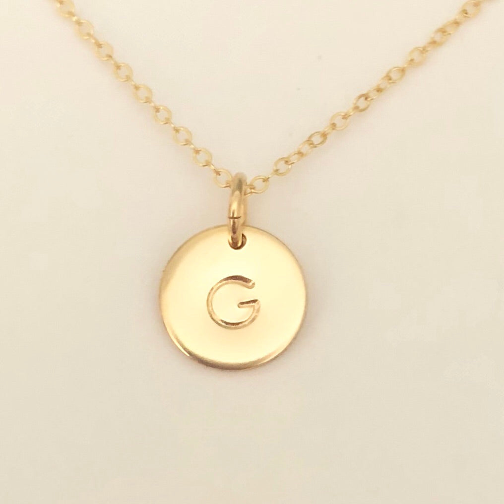 mini disc initial necklace - gold