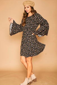 capri floral bell sleeve dress