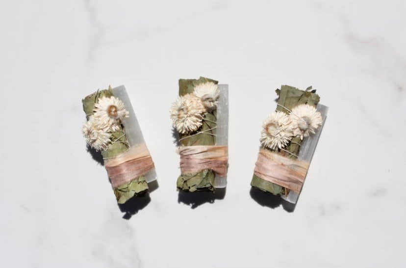 eucalyptus + white selenite smudge stick | pearl desert