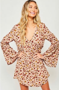 annie floral bell sleeve dress
