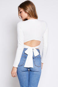 cora long sleeve tie top