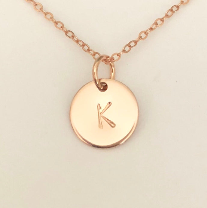 mini disc initial necklace - rose gold