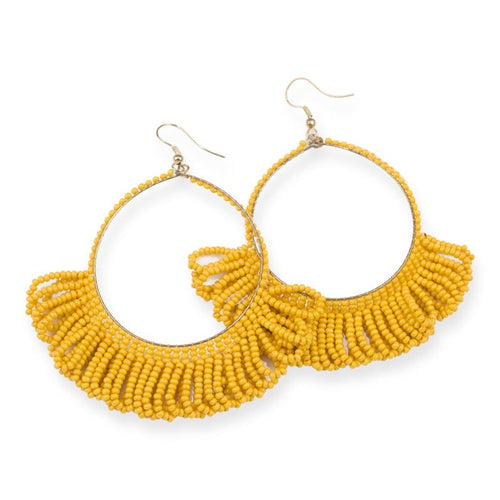 seed bead earrings | fringe hoop