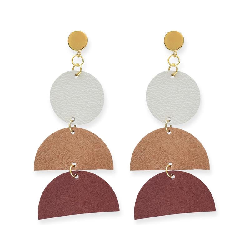 geo leather earrings | earth ombre