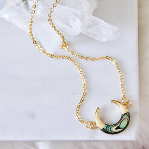 abalone crescent necklace