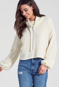 lauren fuzzy cowl neck sweatshirt
